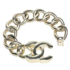 Silver Chanel Link Logo Bracelet