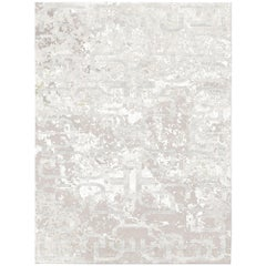 Silver Chants Hand-Knotted Wool and Silk 2.7 x 3.6m Rug