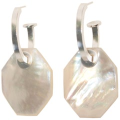 Silver Charm Hoop 2-in-1 Earring with Hand-Cut Mother of Pearl by Octave Jewelry