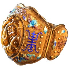 Silver Chinese Enameled Bracelet with Gold Gilt and Carved Cats Eye Pendent