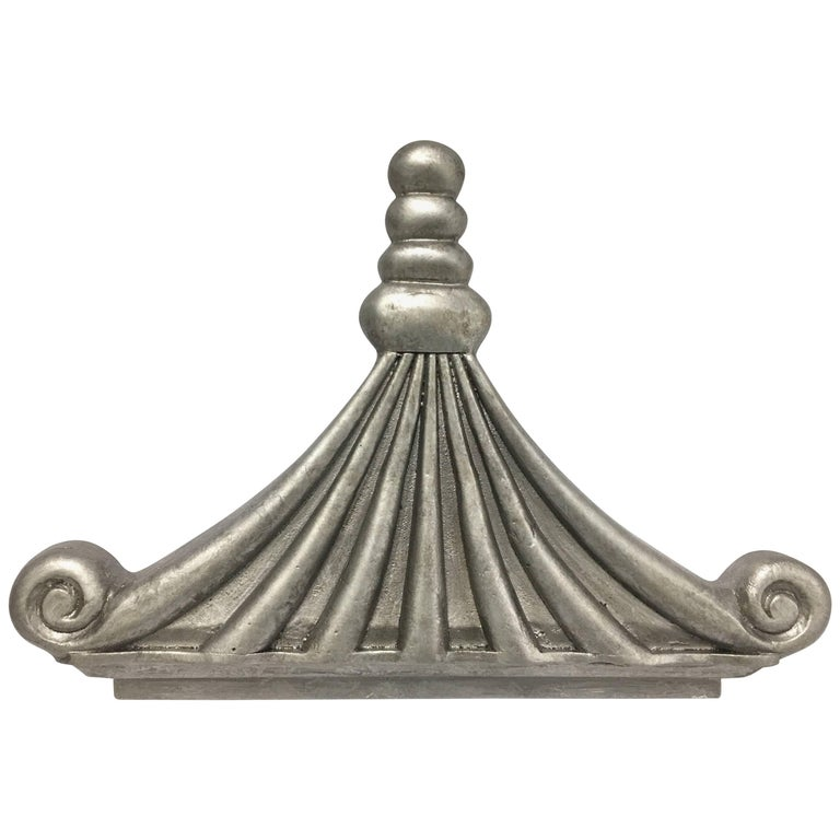 Silver Chinoiserie Pagoda Architectural Accent or Bed Corona For Sale