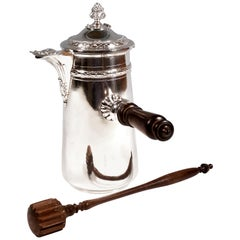 Silver Chocolate Pot with Whisk, by Henri Lapeyre, Paris, Circa 1900