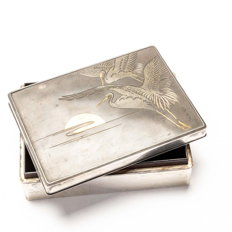 Japanese Silver Cigarette Box with Incised Cranes from Japan For Sale