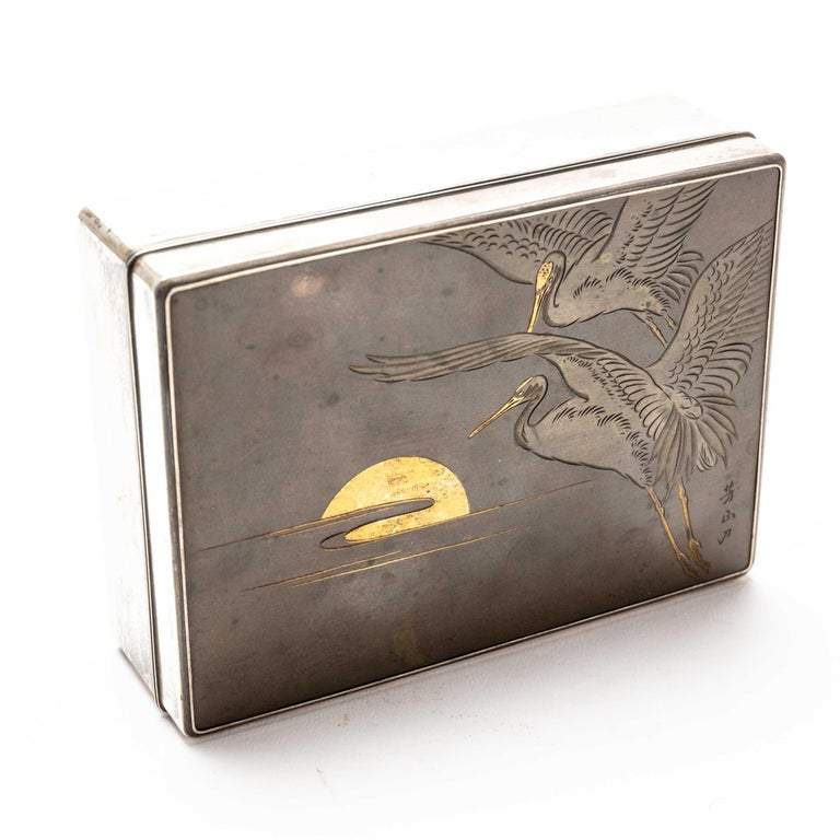 Engraved Silver Cigarette Box with Incised Cranes from Japan For Sale