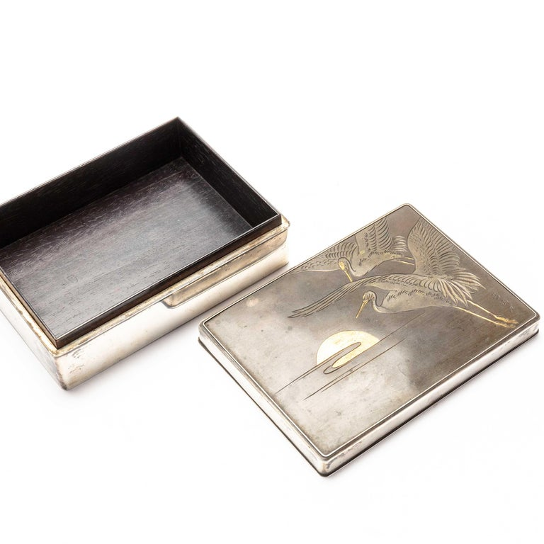 Silver Cigarette Box with Incised Cranes from Japan In Good Condition For Sale In Prahran, Victoria