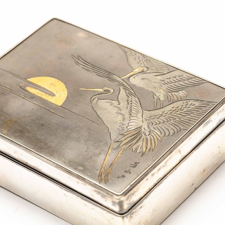 Silver Cigarette Box with Incised Cranes from Japan For Sale 1