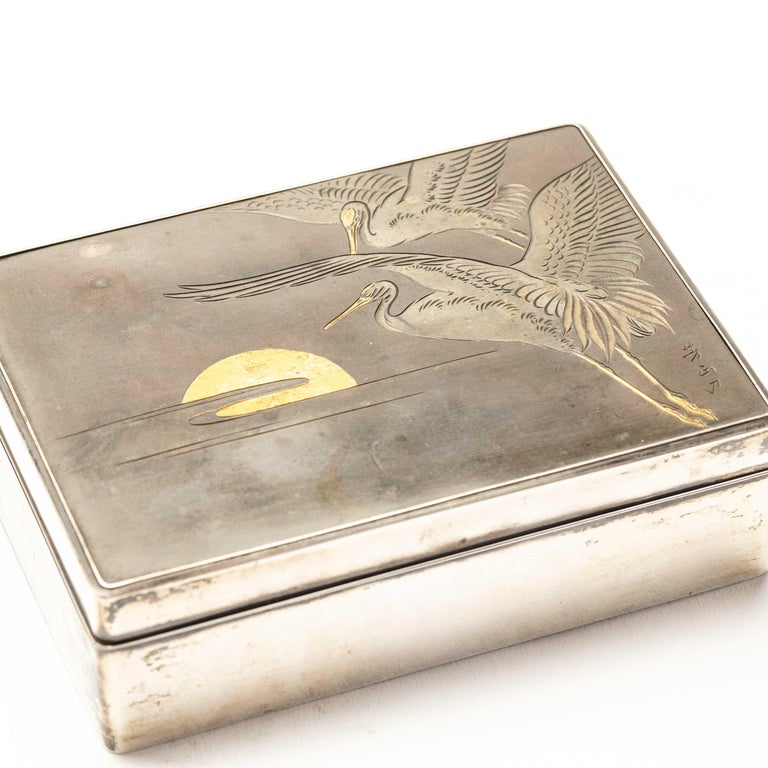Silver Cigarette Box with Incised Cranes from Japan For Sale 2