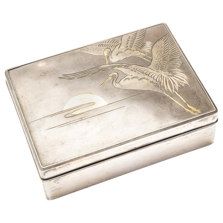 Silver Cigarette Box with Incised Cranes from Japan For Sale