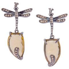 Ugolini Silver Citrine 0.40 Karat Brown Diamonds Dragonfly Dangle Earrings