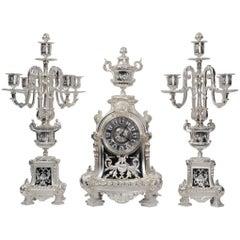 Silver Clock Set by Samuel Marti