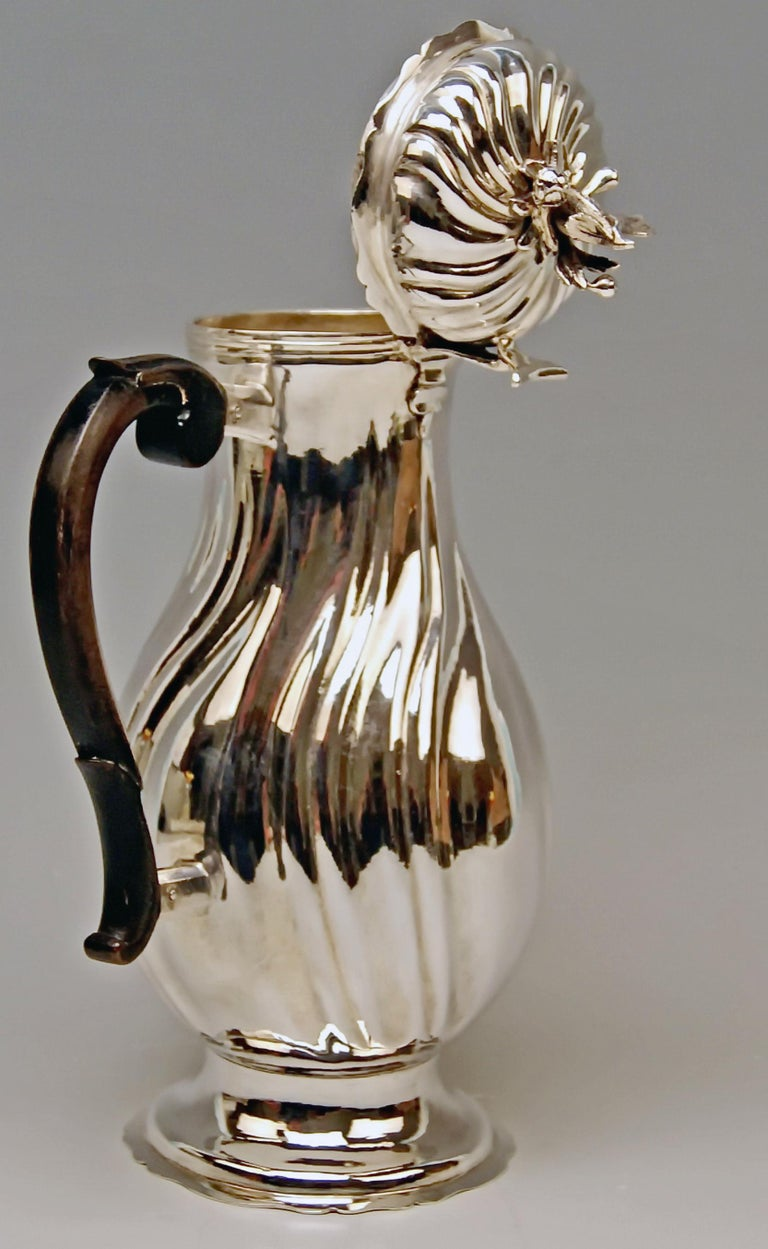 Late 18th Century Silver Coffee Pot Rococo Period Augsburg Germany Jacob Wilhelm Kolb For Sale