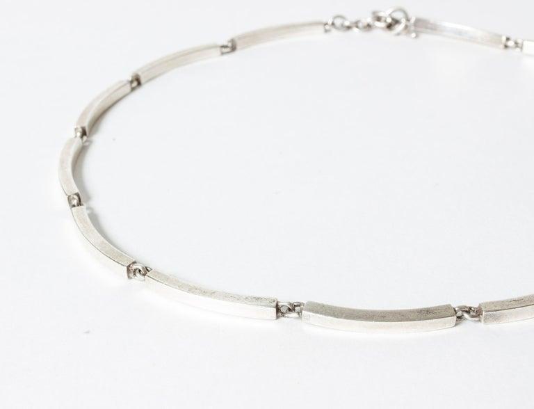 Modern Silver Collier from Hermann Siersbøl, Denmark, 1950s For Sale