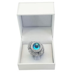 Silver Color Thread Crochet Cocktail Statement Ring Sky Blue Swarovski Crystal