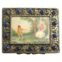silver compact with Lapis Lazuli, Hand painted miniature scene