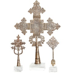 Silver Coptic Processional Crosses from Ethiopia with Custom Lucite Stands