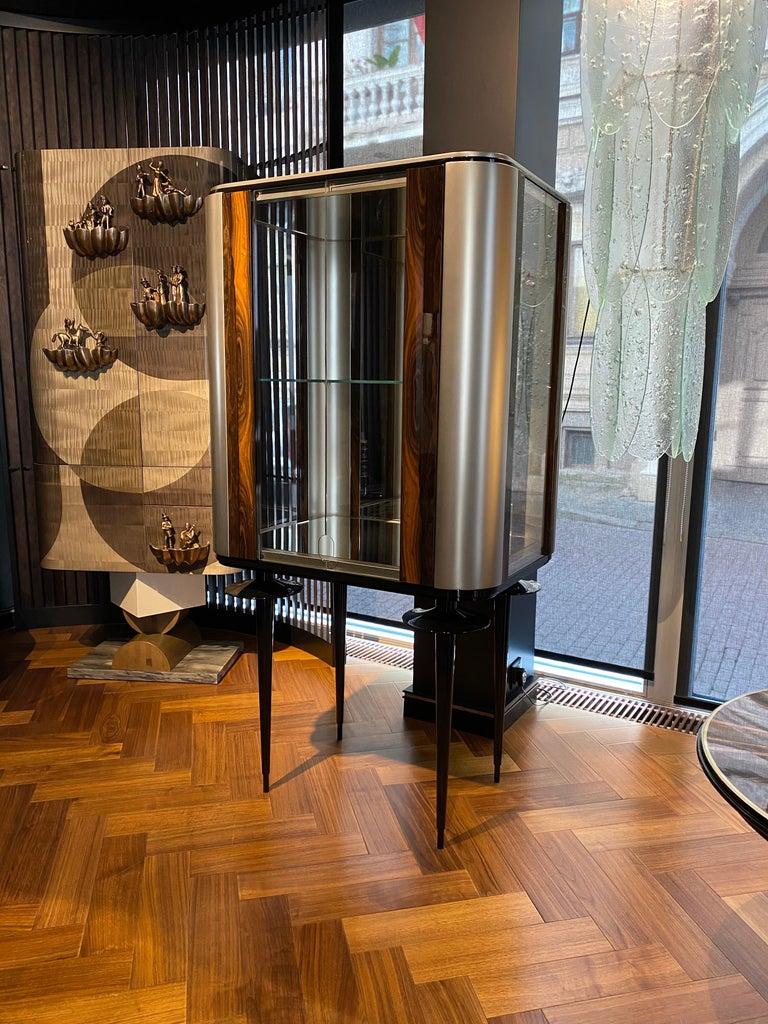 Post-Modern 'Silver Crane' Modern Glass Cabinet with Ziricote Veneer Inlays For Sale