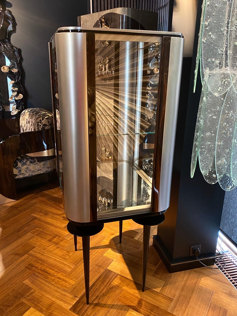 Lithuanian 'Silver Crane' Modern Glass Cabinet with Ziricote Veneer Inlays For Sale