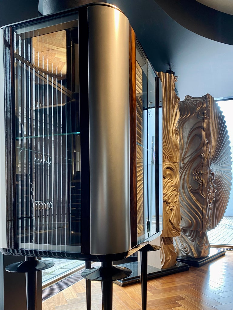 Contemporary 'Silver Crane' Modern Glass Cabinet with Ziricote Veneer Inlays For Sale