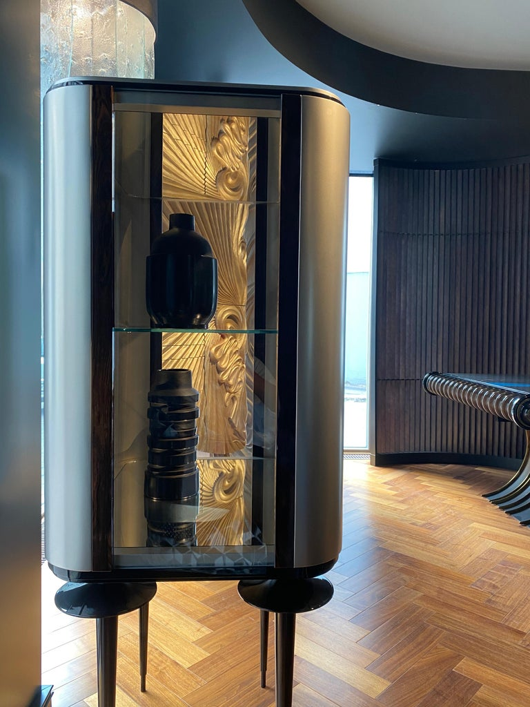 'Silver Crane' Modern Glass Cabinet with Ziricote Veneer Inlays For Sale 1