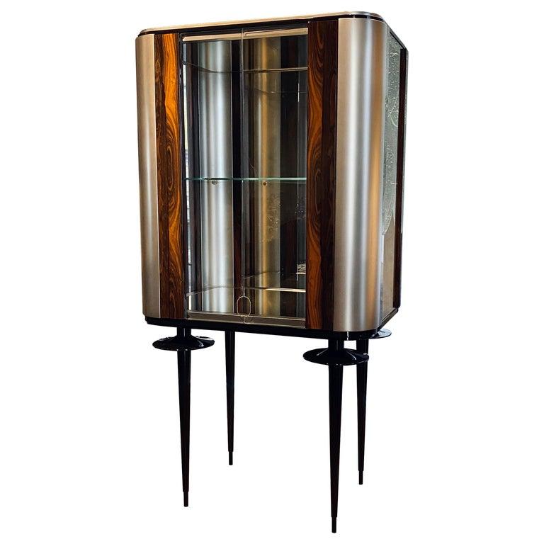 'Silver Crane' Modern Glass Cabinet with Ziricote Veneer Inlays For Sale