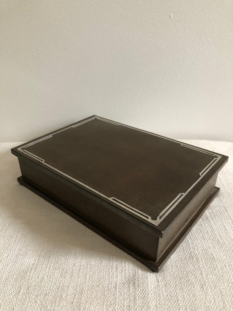 Silver crest men's humidor bronze and sterling large box. Wood interior with mesh screen wonderful condition.