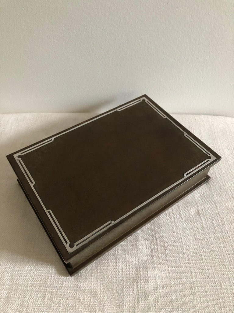 American Silver Crest Men's Humidor Box Bronze and Sterling For Sale