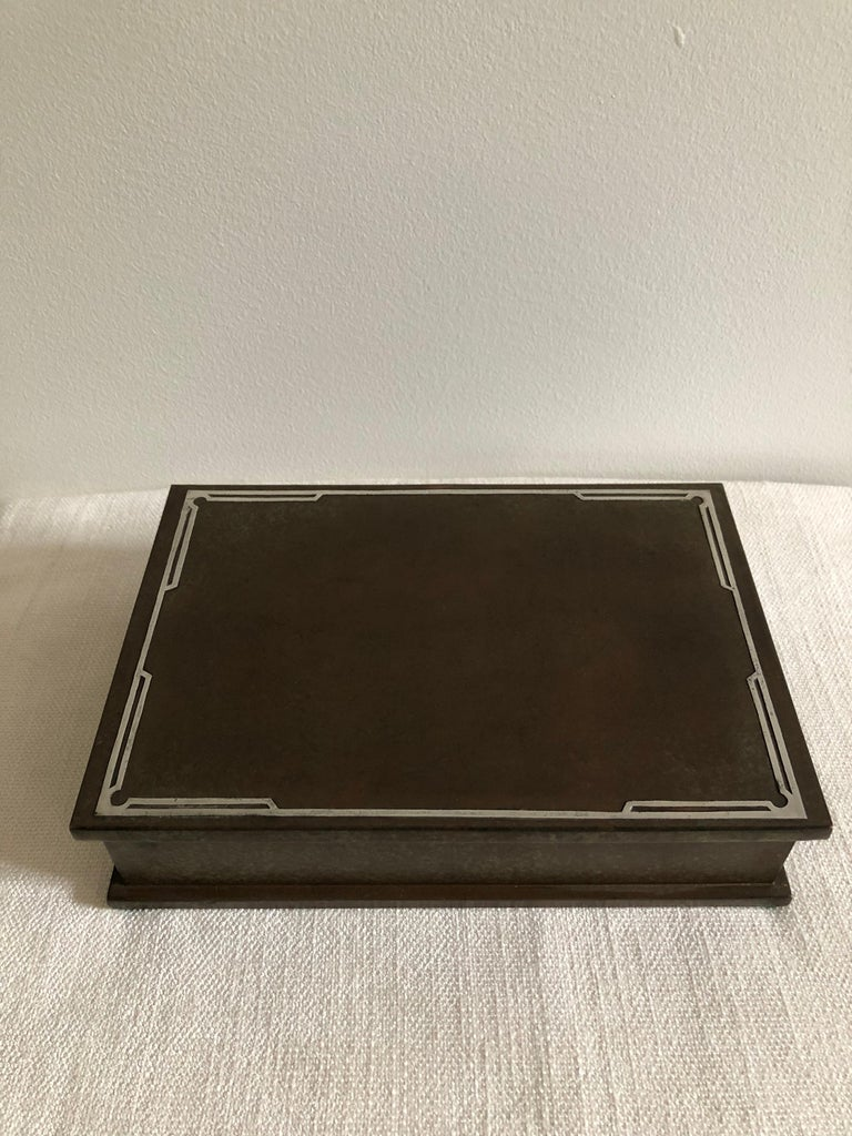 Appliqué Silver Crest Men's Humidor Box Bronze and Sterling For Sale
