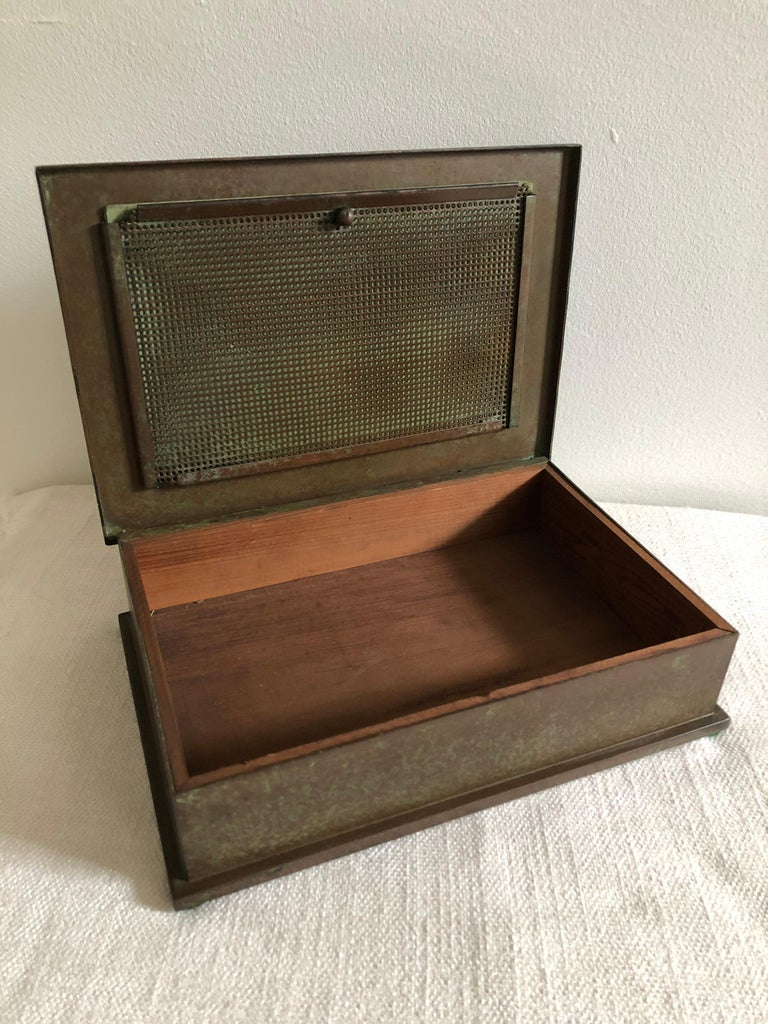 20th Century Silver Crest Men's Humidor Box Bronze and Sterling For Sale