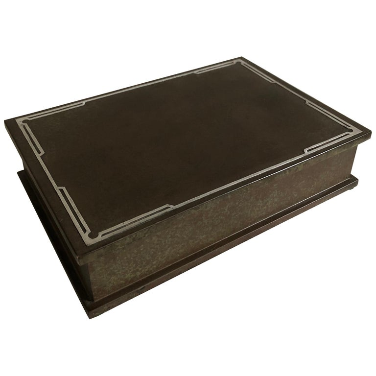 Silver Crest Men's Humidor Box Bronze and Sterling For Sale