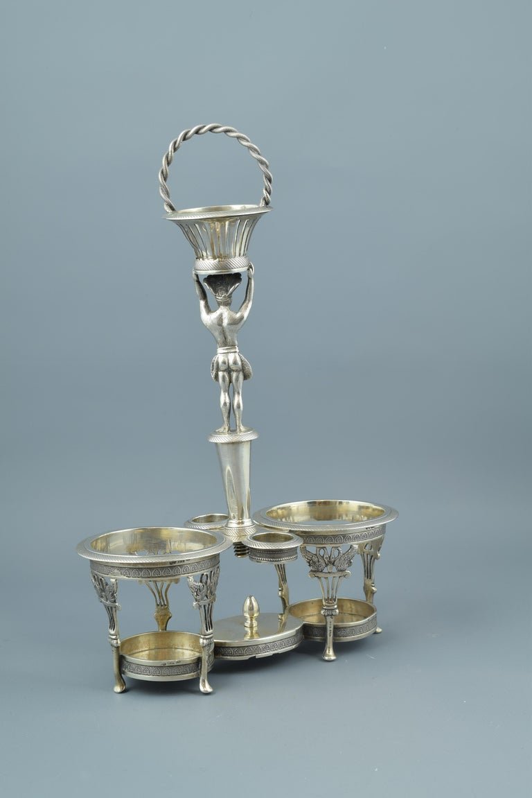 Neoclassical Silver Cruet Stand, Santander, Spain, 19th Century For Sale