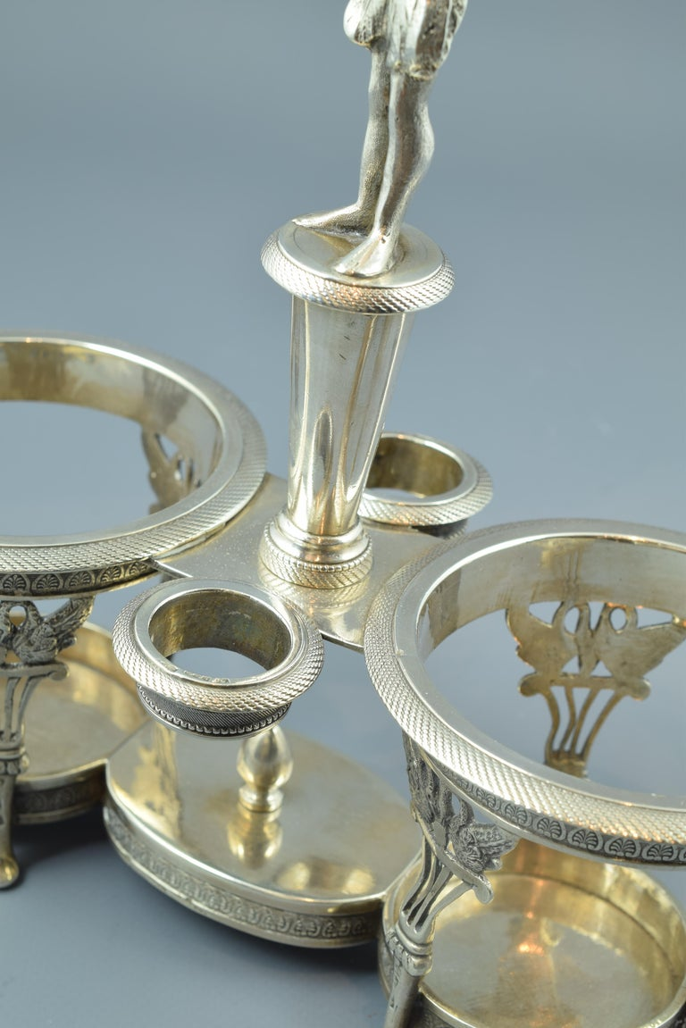 Spanish Silver Cruet Stand, Santander, Spain, 19th Century For Sale