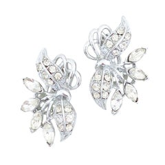Silver Crystal Rhinestone Cocktail Statement Earrings, 1950s