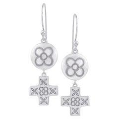 White Gold Plated Sterling Silver Flower Cross Drop Earrings DIAMONDS in the SKY