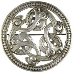 Silver Danish Mid Century Modern Serpent Brooch Pin