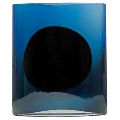 Silver Dark Blue Big Isla Glass Vase