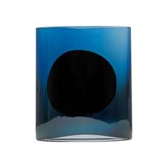 Silver Dark Blue Small Isla Glass Vase