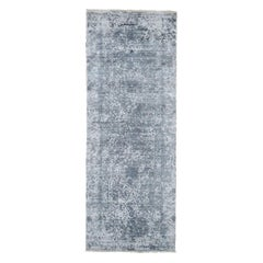 Silver-Dark Gray Erased Persian Design Wool and Pure Silk Runner Hand Knotted
