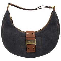 Silver Dior Half Moon Bag in Denim Canvas and Brown Leather.