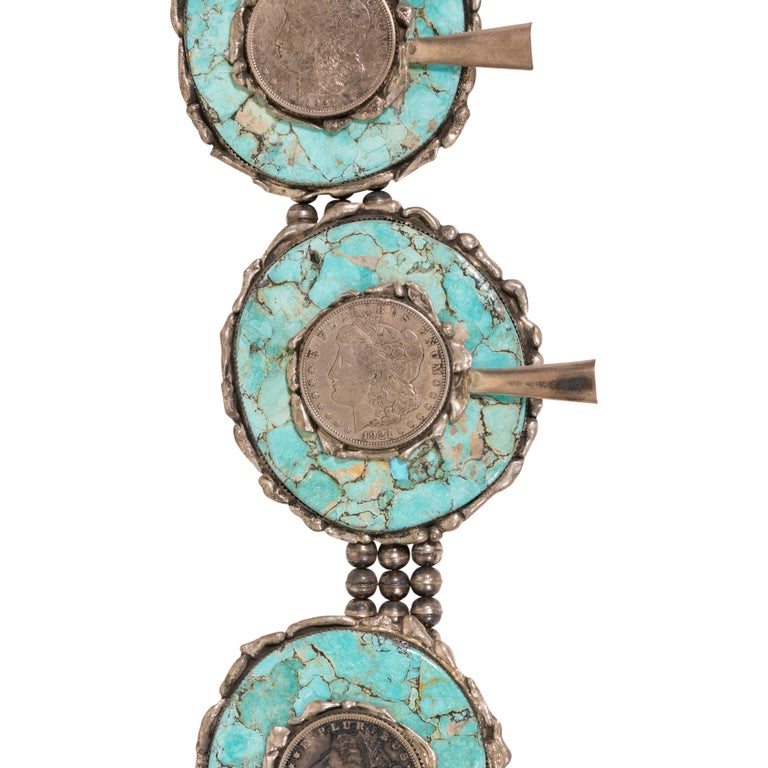 Native American Silver Dollar Coin and Turquoise Squash Blossom Necklace For Sale