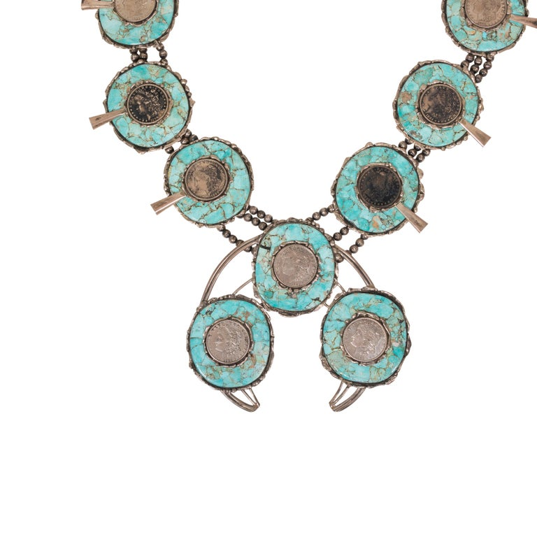 Silver Dollar Coin and Turquoise Squash Blossom Necklace In Excellent Condition For Sale In Coeur d Alene, ID