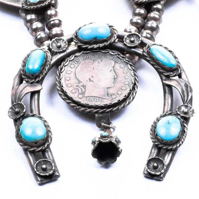 Native American Silver Dollar Coin Squash Blossom Necklace and Earrings For Sale