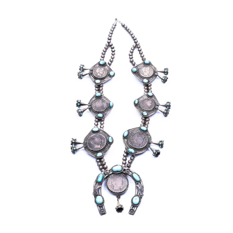 Silver Dollar Coin Squash Blossom Necklace and Earrings In Excellent Condition For Sale In Coeur d Alene, ID
