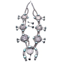 Silver Dollar Coin Squash Blossom Necklace and Earrings