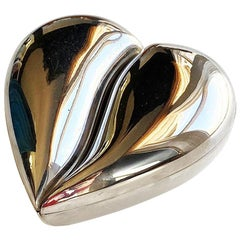 Silver Double Compartment Heart Box with Velvet Lining