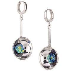 "Silver Earrings ""Blue Lagoon"" with Titanium Agates"