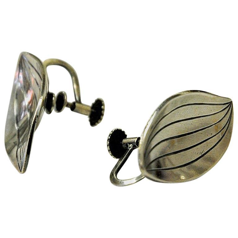 Silver vintage earrings Leaf shaped by Heribert Engelbert AB, Sweden 1957