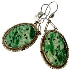 Chinese Jade and Pearl Earrings set in Silver