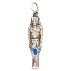 Egypt Pharaoh Ramses Enameled Silver Charm Pendant