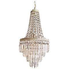 Silber Empire Sac ein Perlen Kronleuchter Kristall Lüster Decken Lampe Halle Antik