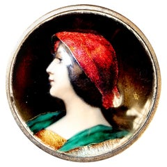 Silver Enamel Brooch Lady Red Hat Portrait